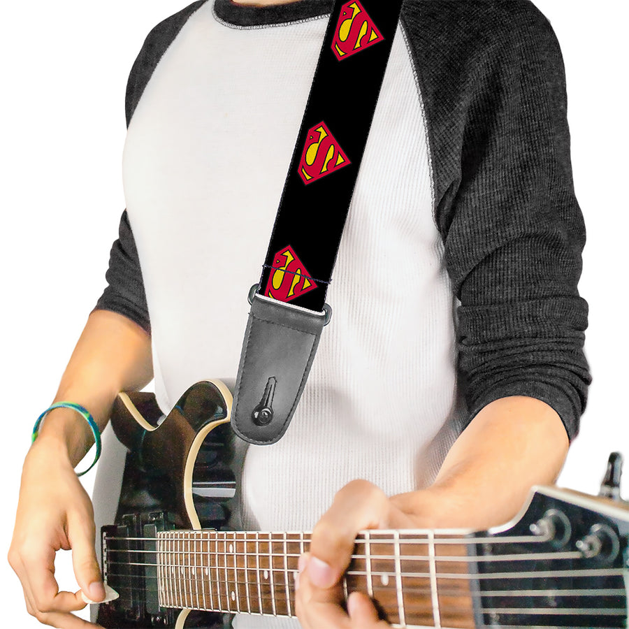 Guitar Strap - Superman Shield Black