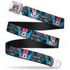 Minnie Mouse Winking CLOSE-UP Full Color Multi Color Seatbelt Belt - Minnie Mouse Hoody & Headphone Poses Gray/Multi Color Webbing