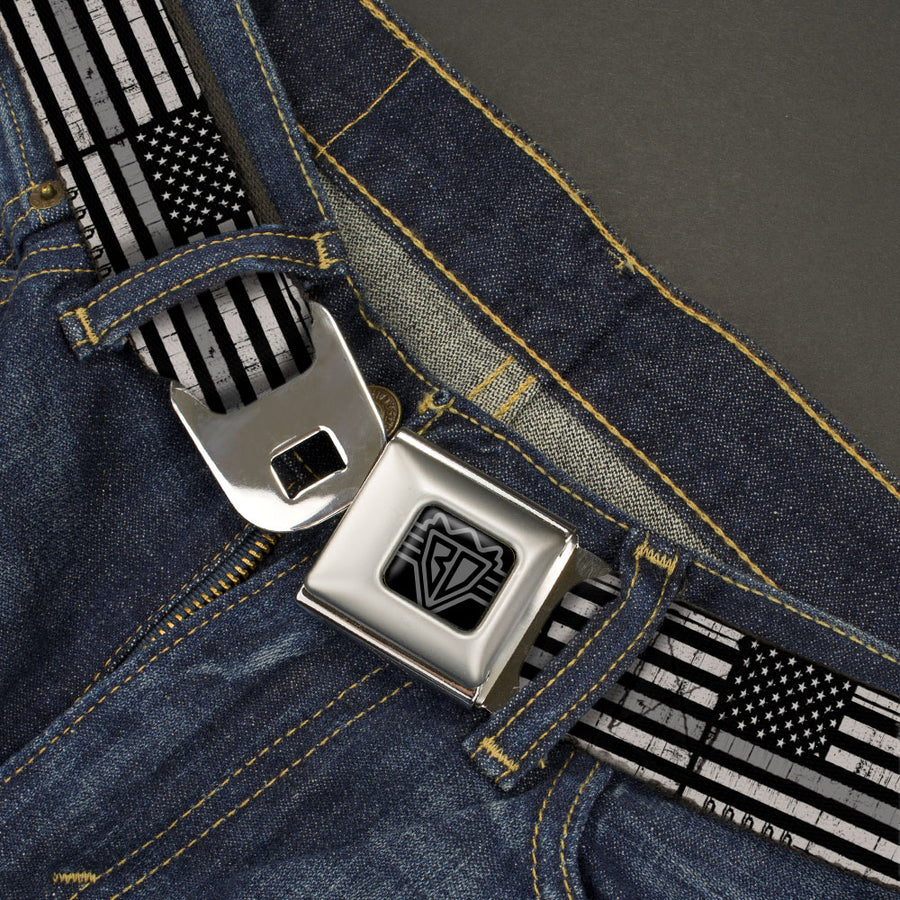 BD Wings Logo CLOSE-UP Black/Silver Seatbelt Belt - Thin Gray Line Flag Weathered Black/Grays Webbing