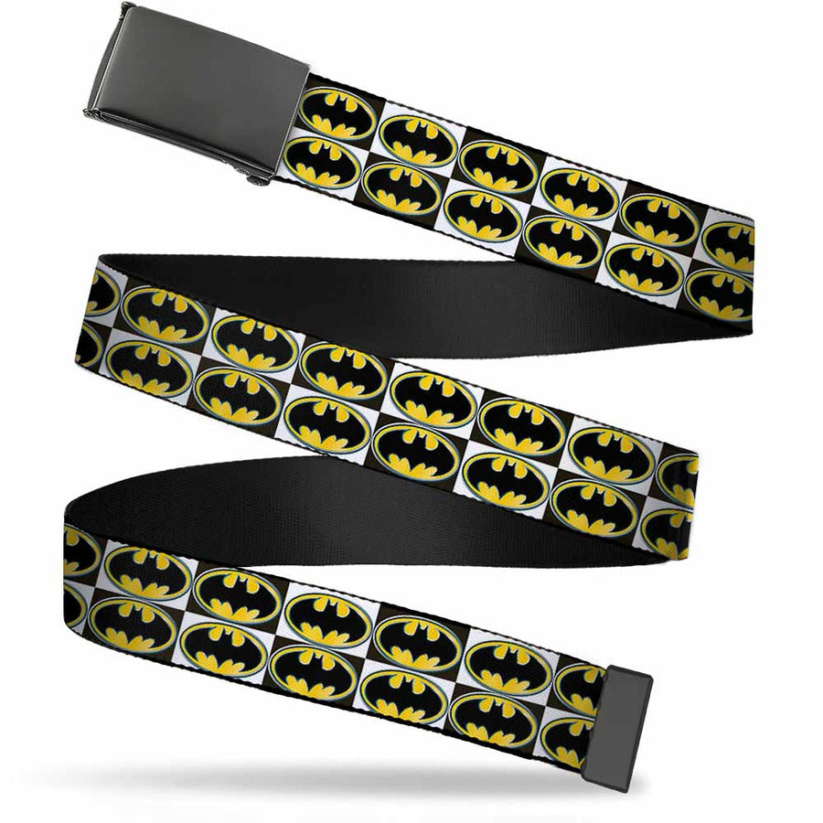 Black Buckle Web Belt - Batman Shield Checkers Webbing