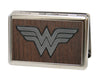Business Card Holder - LARGE - Wonder Woman Logo Marquetry Black Walnut Metal