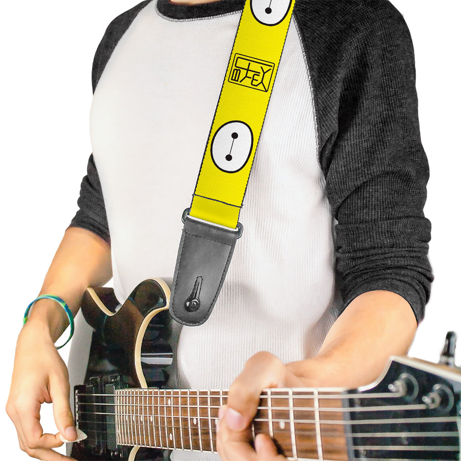 Guitar Strap - BAYMAX Hanko Face Yellow Black White