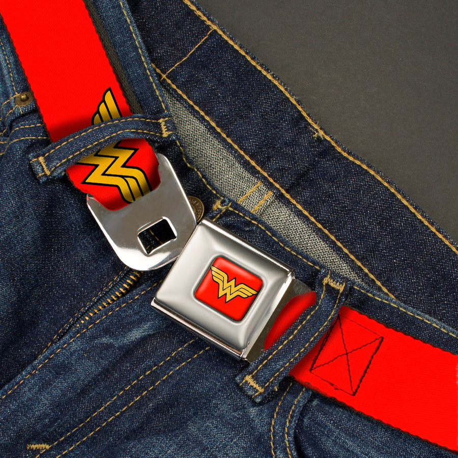 Wonder Woman Logo Full Color Red Seatbelt Belt - Wonder Woman Logo Red Webbing