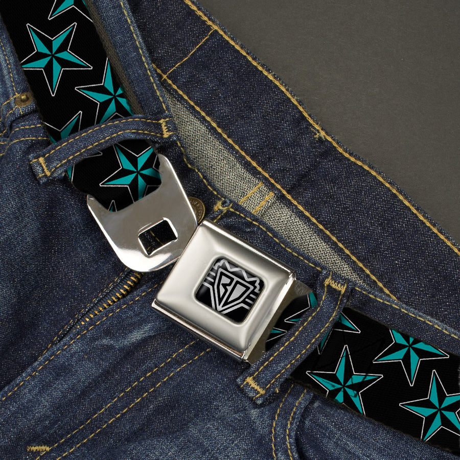 BD Wings Logo CLOSE-UP Full Color Black Silver Seatbelt Belt - Nautical Stars Scattered Black/Turquoise Webbing