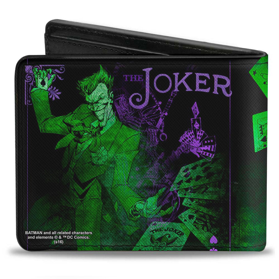 Bi-Fold Wallet - THE JOKER Card Flipping Poses Black Greens Purples