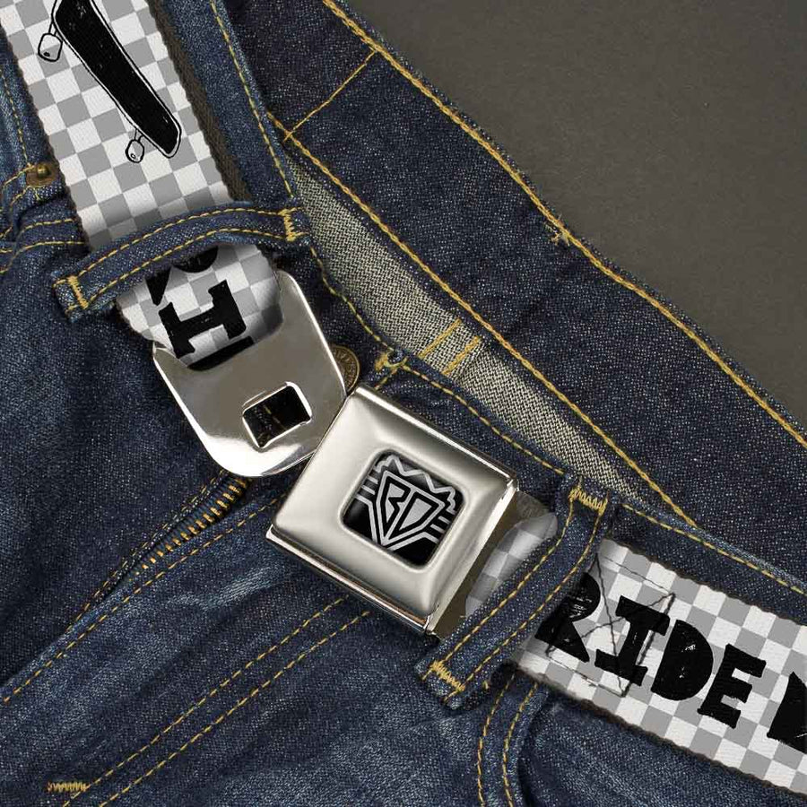 BD Wings Logo CLOSE-UP Full Color Black Silver Seatbelt Belt - RIDE ME Skateboard w/Mini Checker White/Gray/Black Webbing