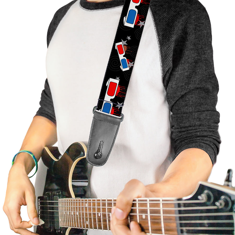 Guitar Strap - 3-D Glasses Dripping w Stars