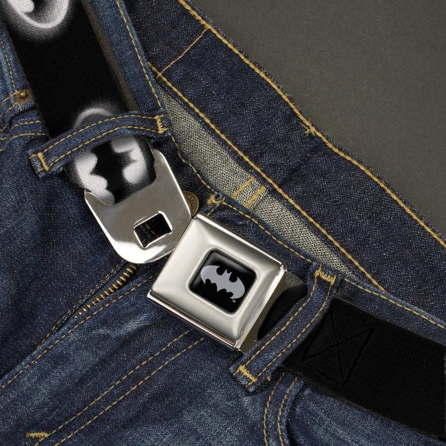 Batman Black Silver Seatbelt Belt - Cloudy Bat Signal Black/White Webbing