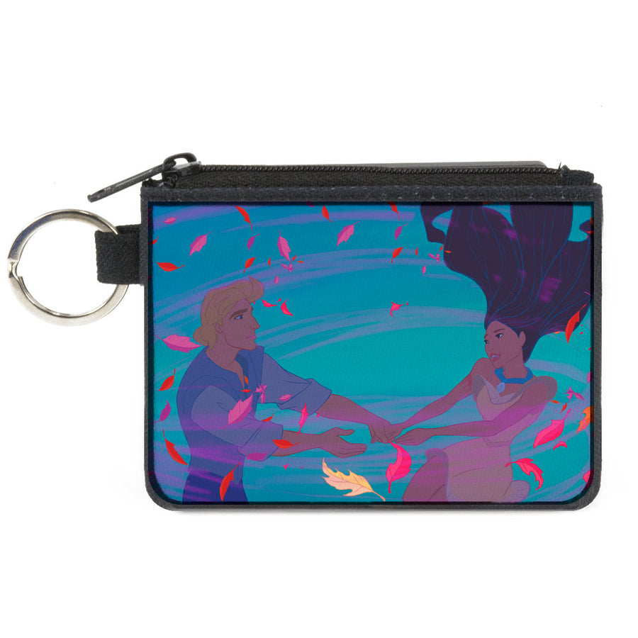 Canvas Zipper Wallet - MINI X-SMALL - Pocahontas & John Smith Colors of the Wind Pose Leaves Blues Pinks