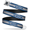 1929 Chevrolet Bowtie Logo Full Color Black Silver Blue Seatbelt Belt - 1929 Chevrolet Bowtie Logo/Stripe Blue/Silver/Blue Webbing