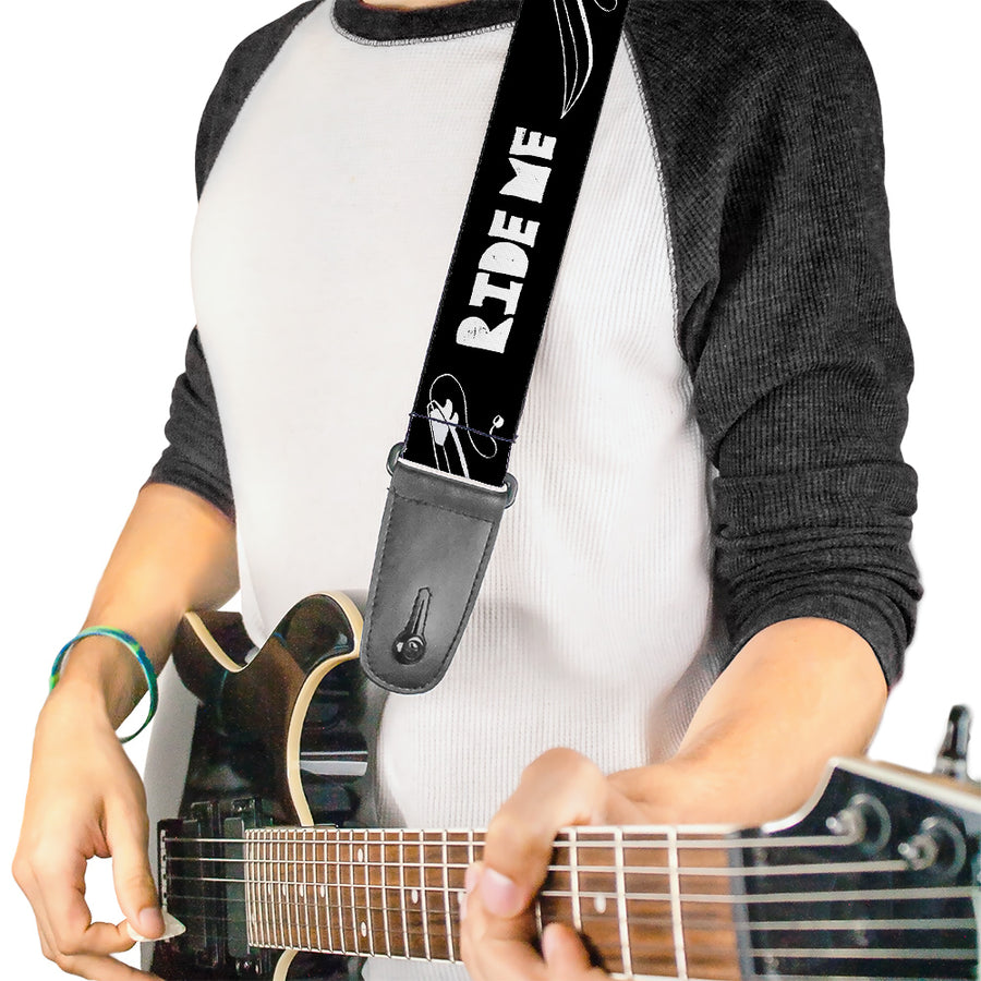 Guitar Strap - RIDE ME Surfboard Black White