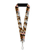 "Lanyard - 1.0"" - Tasmanian Devil Vortex Poses Stacked Charcoal"