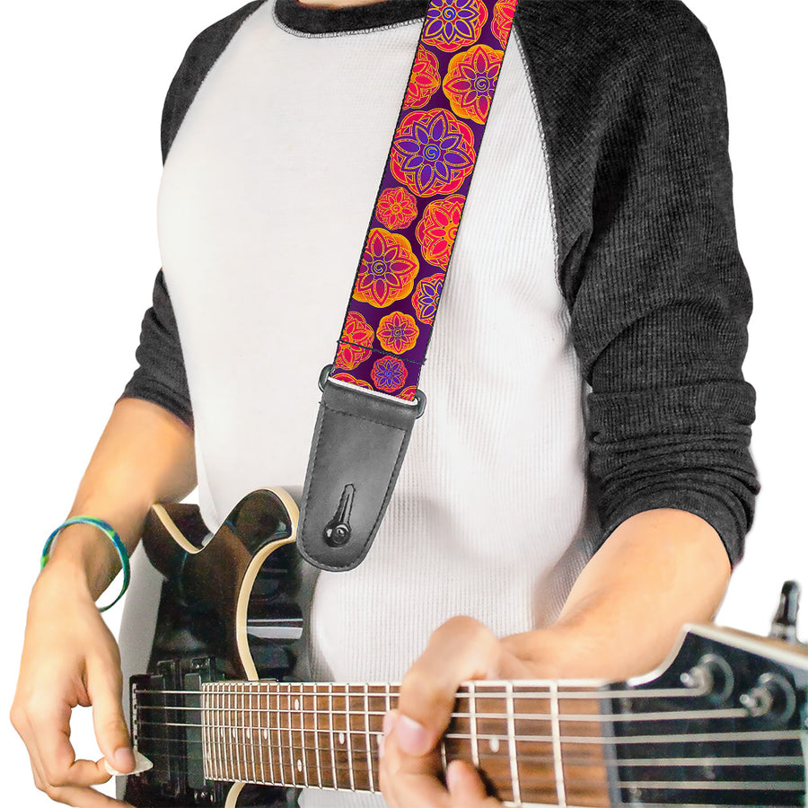 Guitar Strap - Boho Mandala Purples Oranges Pinks