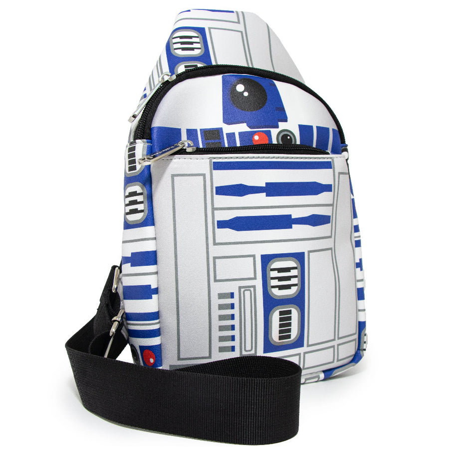 <b>Pre-Order Only </b><br>Women's Sling Wallet - Star Wars R2-D2 Bounding Parts White Blues Grays