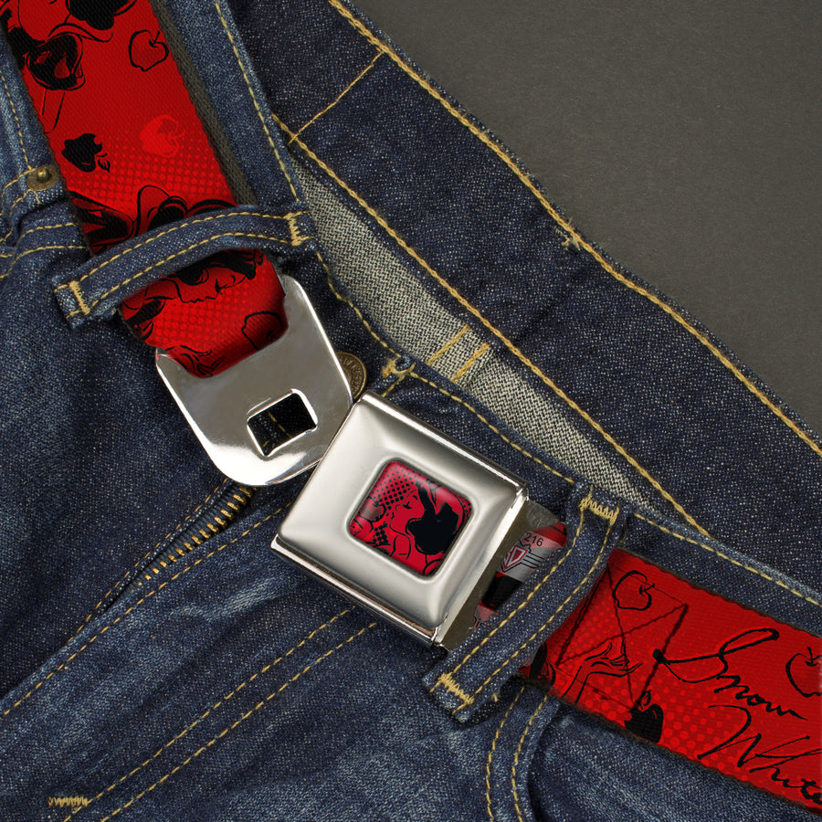 Snow White & Apple Full Color Reds Black Seatbelt Belt - SNOW WHITE Poses/Apple Halftone Reds/Black Webbing