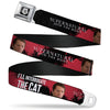 Winchester Logo Full Color Black White Seatbelt Belt - SUPERNATURAL Castiel I'LL INTERROGATE THE CAT Black/Blood Splatter/White Webbing