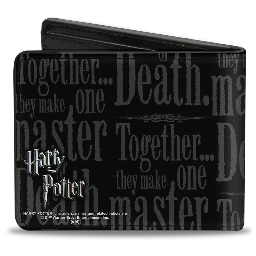 Bi-Fold Wallet - TOGETHER...THEY MAKE ONE MASTER OF DEATH. Deathly Hallows Symbol + HP Logo Black Grays White