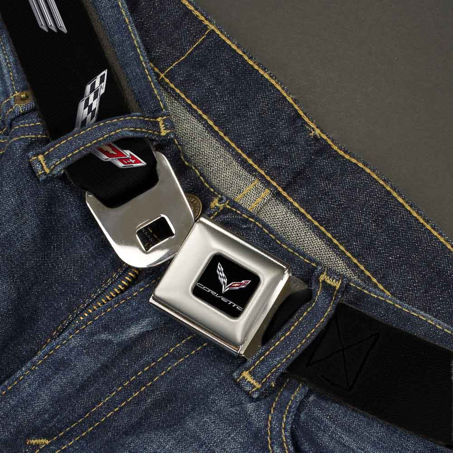 C7 Full Color Black Seatbelt Belt - CORVETTE/C7 Logo Black/Silver/Red Webbing