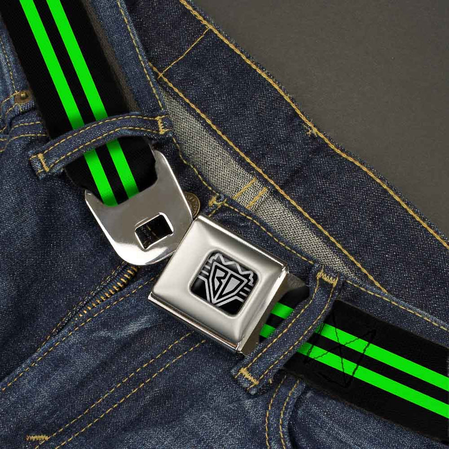 BD Wings Logo CLOSE-UP Full Color Black Silver Seatbelt Belt - Stripe Black/Green Webbing