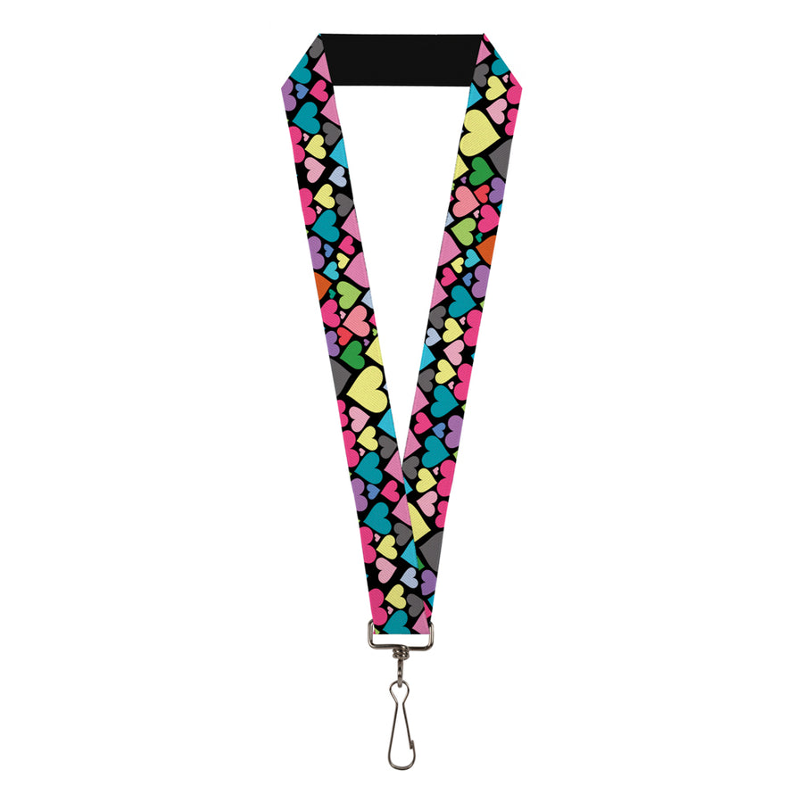 "Lanyard - 1.0"" - Hearts Black Multi Color"