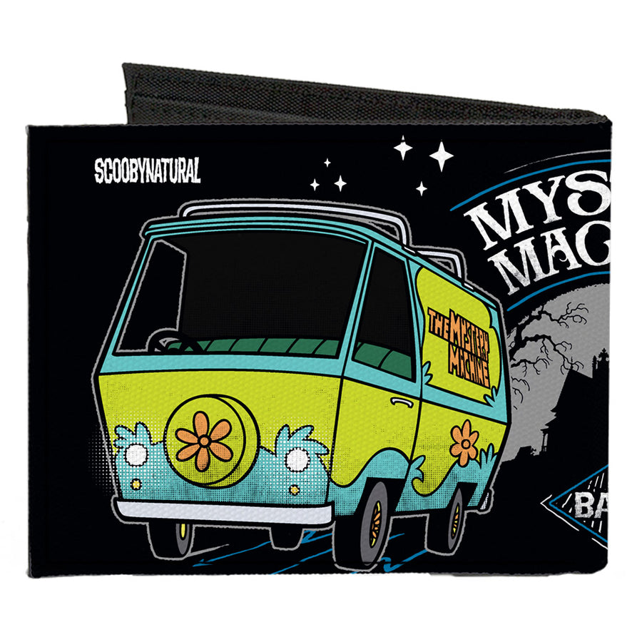 Canvas Bi-Fold Wallet - SCOOBYNATURAL MYSTERY MACHINE Van & BABY Impala Scene Black White Grays Blues