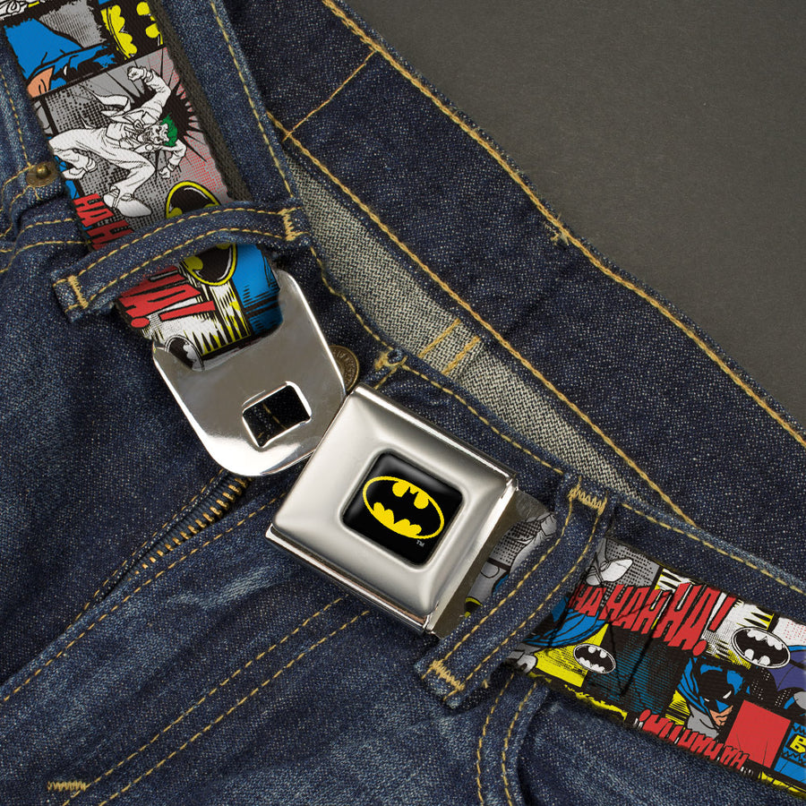 Batman Full Color Black Yellow Seatbelt Belt - Batman & Joker Comic Blocks Webbing