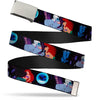 Chrome Buckle Web Belt - The Little Mermaid Ariel & Ursula Scenes Webbing