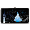 Hinged Wallet - Cinderella COUNTDOWN TO MIDNIGHT Pose + Pumpkin Coach Silhouette Black Blues White