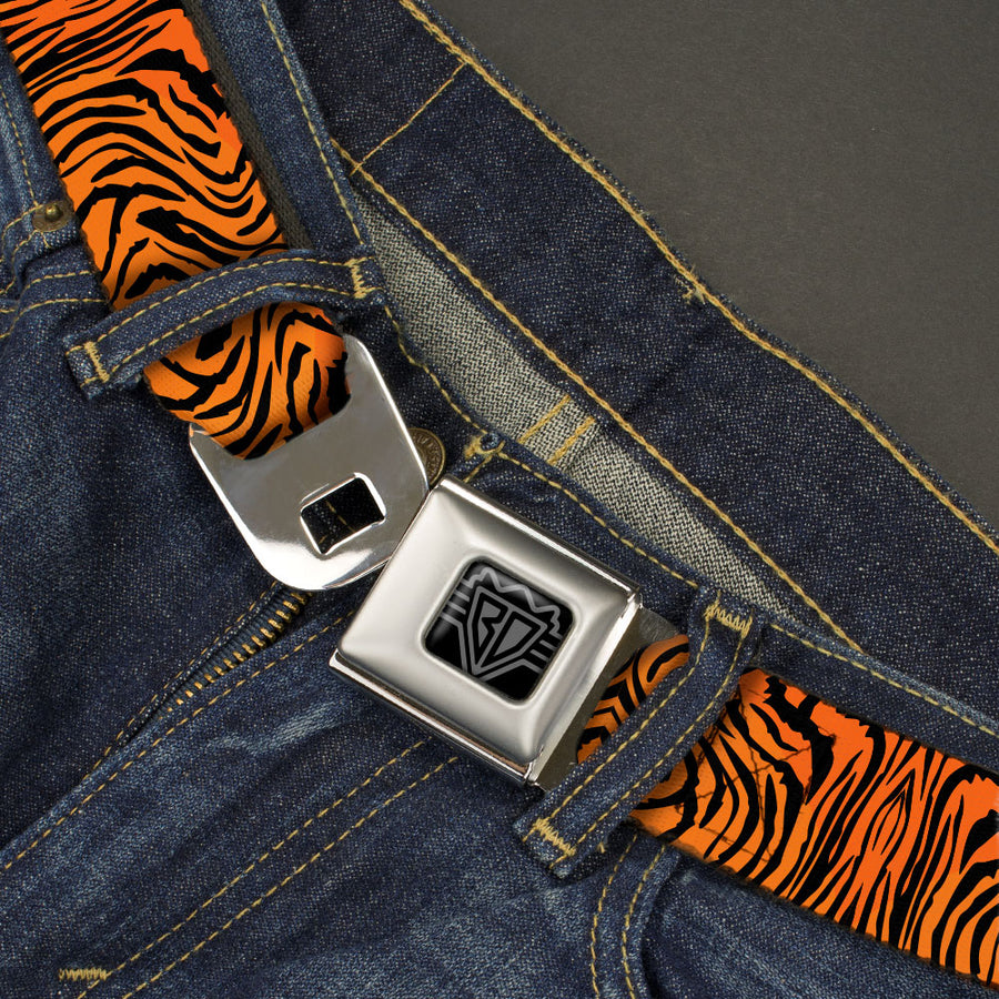 BD Wings Logo CLOSE-UP Black/Silver Seatbelt Belt - Tiger2 Orange/Black Webbing