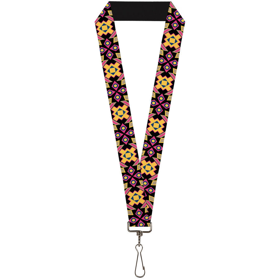 "Lanyard - 1.0"" - Geometric Sunburst Black Pink Yellow Blue"