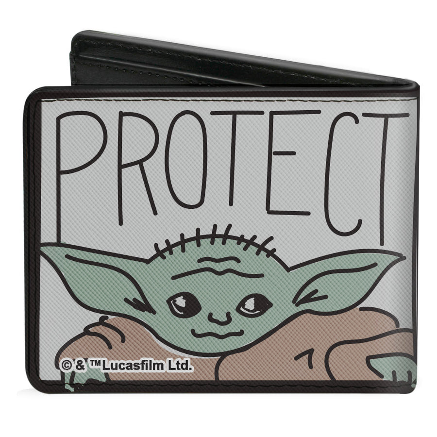 Bi-Fold Wallet - Star Wars The Child ATTACK PROTECT Blocks Black