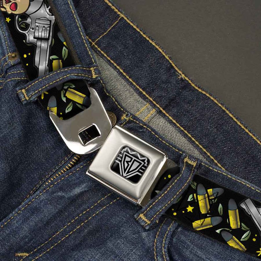 BD Wings Logo CLOSE-UP Full Color Black Silver Seatbelt Belt - Born to Raise Hell CLOSE-UP Black Webbing