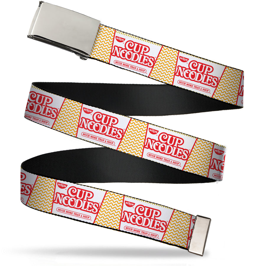 Chrome Buckle Web Belt - Cup Noodles Cup/Noodle Wave White/Orange/Red Webbing