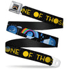 INSIDE OUT Rainbow Full Color Black White Multi Color Seatbelt Belt - Joy Poses/Rain ONE OF THOSE DAYS Black/Gray/Blues/Yellow Webbing
