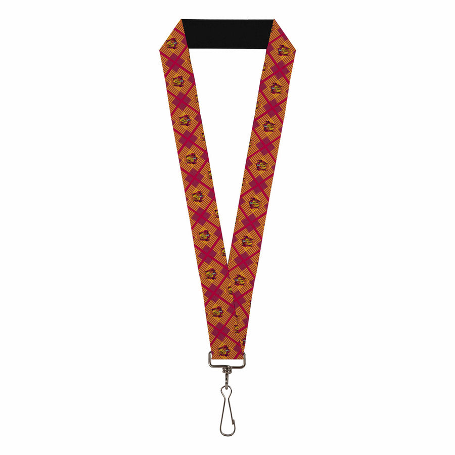 "Lanyard - 1.0"" - Harry Potter Gryffindor Crest Plaid Reds Gold"