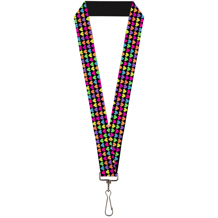 "Lanyard - 1.0"" - Mini Hearts Black Multi Neon"