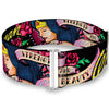Cinch Waist Belt - WONDER WOMAN Roses STRENGTH AND BEAUTY Black-Pink Fade