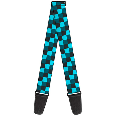 Guitar Strap - Checker Trio Baby Blue Black Turquoise