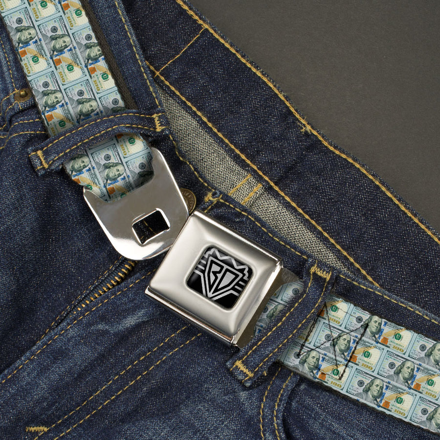 BD Wings Logo CLOSE-UP Full Color Black Silver Seatbelt Belt - 100 Dollar Bill Series 2009 Repeat Webbing