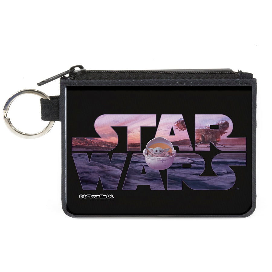 Canvas Zipper Wallet - MINI X-SMALL - STAR WARS The Child Pod Pose Black Vivid Landscape