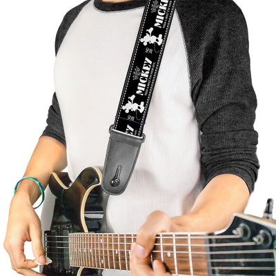 Guitar Strap - Mickey Standing2 Silhouette NEED A HUG? I'M YOUR GUY Black White