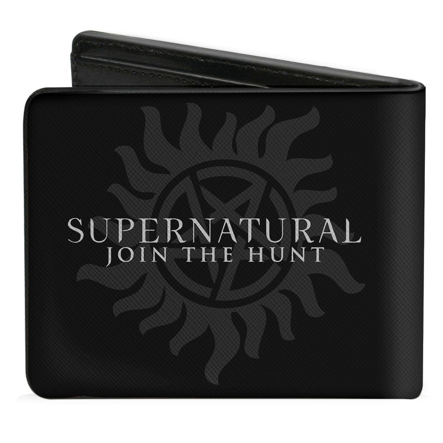 Bi-Fold Wallet - Supernatural SAVING PEOPLE, HUNTING THINGS + Logo Black Gray White