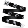 MOPAR Logo Full Color Black/White Seatbelt Belt - MOPAR Logo Repeat Black/Silver Gradient Webbing