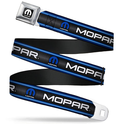 MOPAR Logo Full Color Black White Seatbelt Belt - MOPAR Text/Logo/Stripe/Grill Black/Grays/Blue Glow/White Webbing