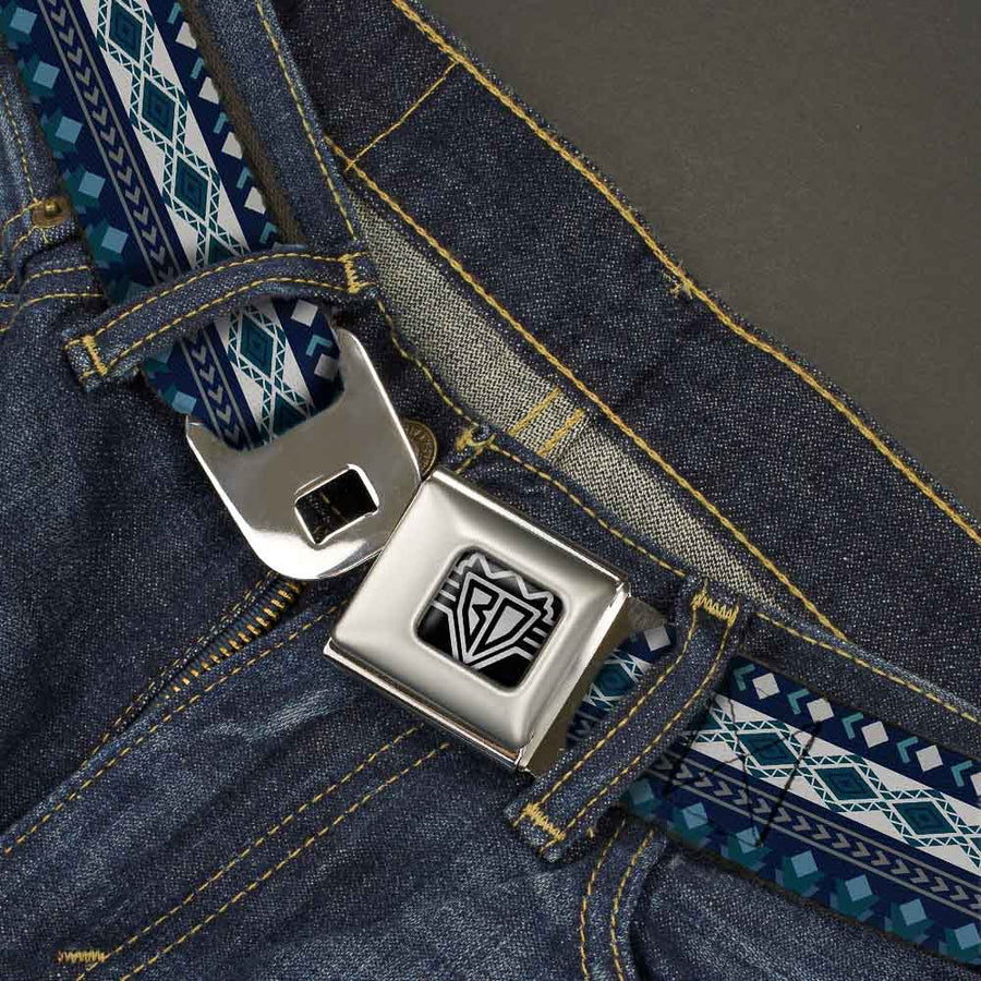 BD Wings Logo CLOSE-UP Full Color Black Silver Seatbelt Belt - Aztec4 Blues/White/Gray Webbing