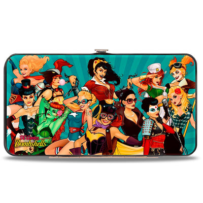Hinged Wallet - 12-DC BOMBSHELLS Group Pose Rays Blues
