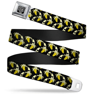 BD Wings Logo CLOSE-UP Full Color Black Silver Seatbelt Belt - Banana Peeled w/Sunglasses Black/Yellow Webbing