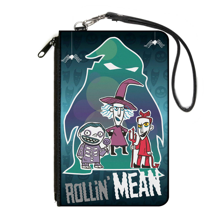 Canvas Zipper Wallet - LARGE - ROLLIN' MEAN Lock Shock & Barrel Trick-or-Treaters Pose Ooogie Boogie Silhouette Greens Purples Gray White