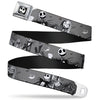 Jack Expression7 Full Color Seatbelt Belt - NBC Jack & Sally Cemetery Scene Gray/Black/White Webbing