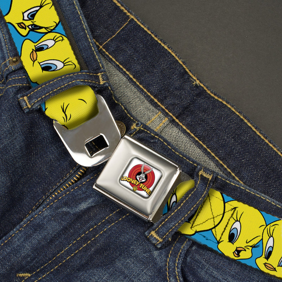 Looney Tunes Logo Full Color White Seatbelt Belt - Tweety Bird CLOSE-UP Expressions Baby Blue Webbing